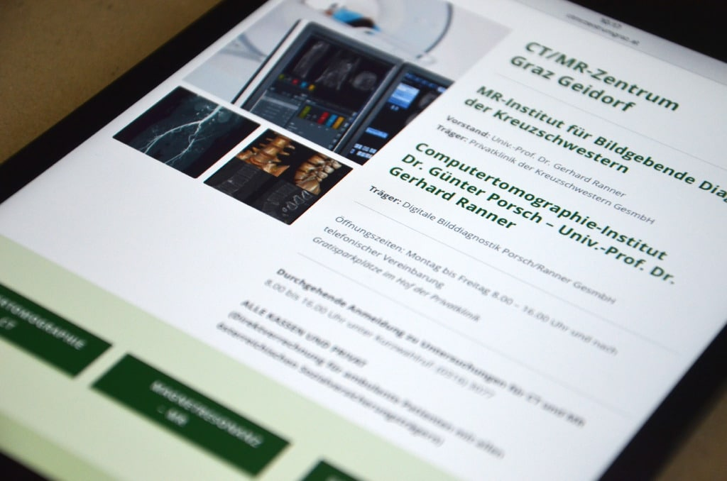Webdesign by Agenturmorre - CT/MR Zentrum Graz, Geidorf